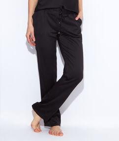 Lejące spodnie z satyny czarny.