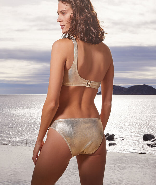 Błyszczące majtki bikini od kostiumu kąpielowego;${refinementColor}