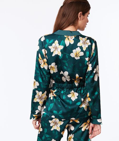 e0c64685ddf1cb Góra od piżamy z satynowym połyskiem we roślinny deseń - GWENDA ...