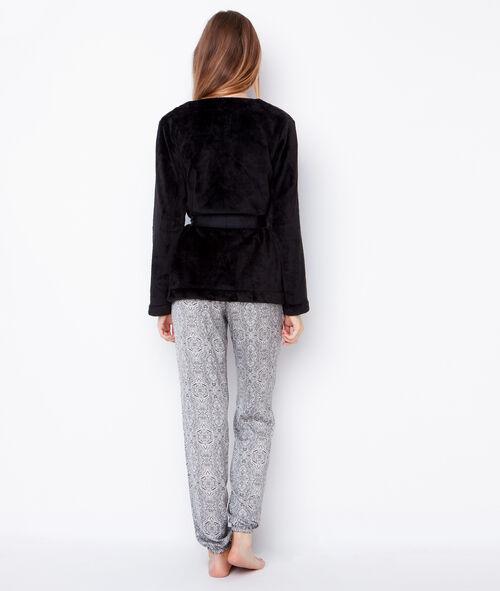 Piżama trzyczęściowa, szlafrok z wnętrzem futerkowym