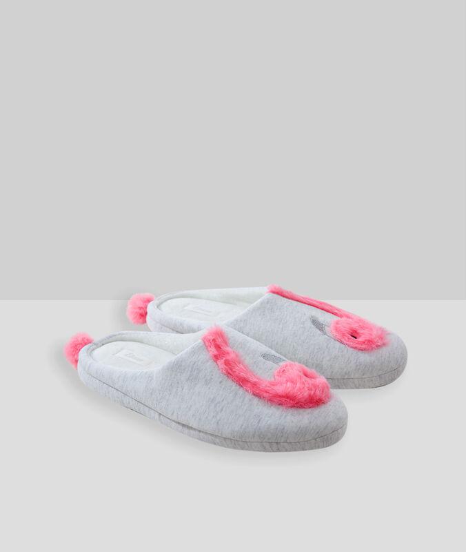 Kapcie w różowe flamingi bleu.
