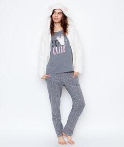 Piżama trzyczęściowa z nadrukiem potworka gris/blanc cassé.