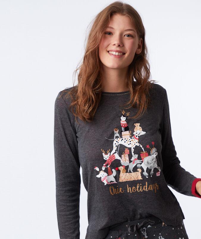 T-shirt z nadrukiem i napisem anthracite.