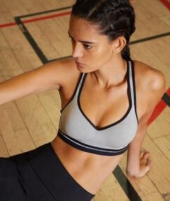 Biustonosz sportowy z efektem push-up i wycięciem na plecach w stylu bokserskim - średnie podtrzymanie gris.
