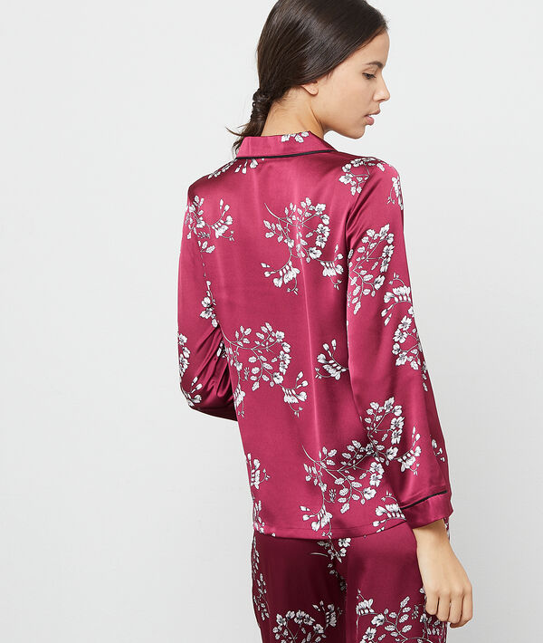 Satynowa koszula z kwiatowym nadrukiem