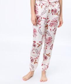Spodnie w deseń florystyczny blanc.