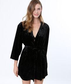 Szlafrok kimono z weluru noir.
