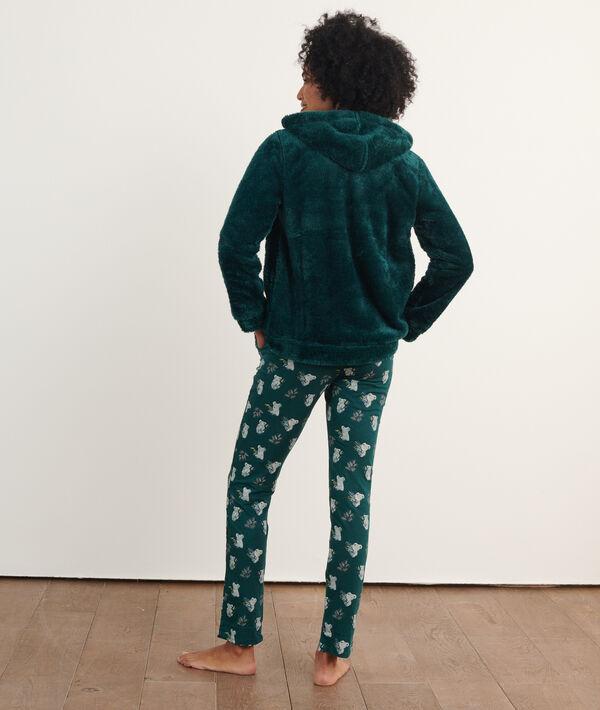 Wzorzysta piżama trzyczęściowa, bluza z polaru;${refinementColor}