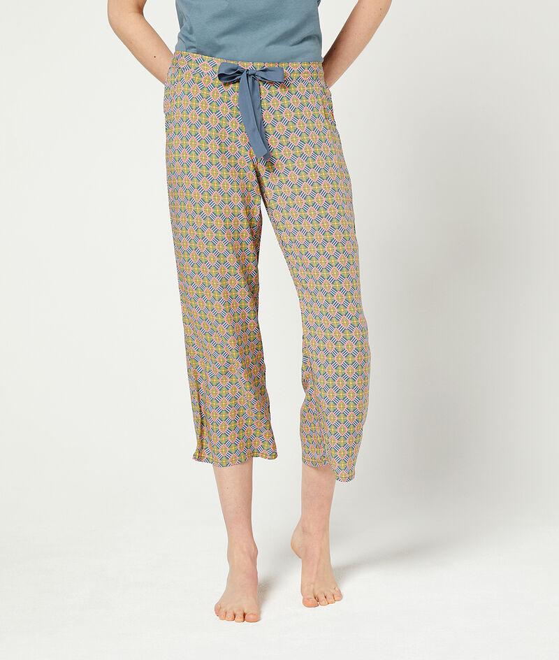Wiązane spodnie 3/4 z nadrukiem;${refinementColor}