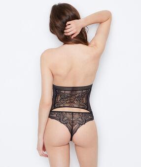 Koronkowe body z odkrytymi plecami noir.