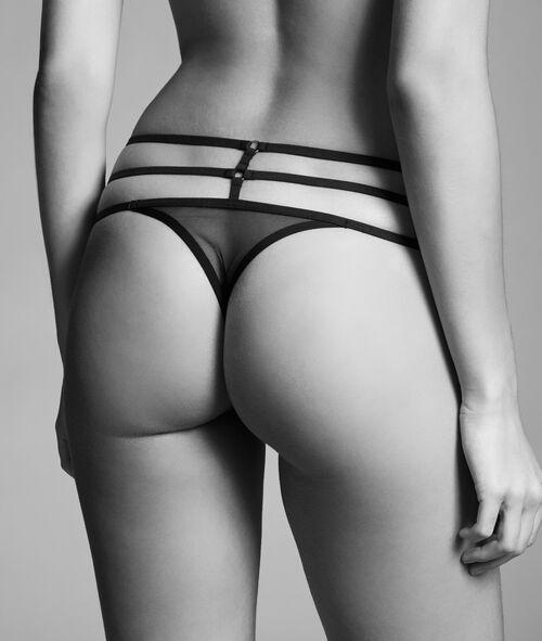 Tiulowe Stringi zdobione paskami