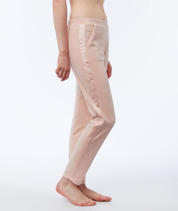 Aksamitne spodnie homewear ozdobione paskami z satyny