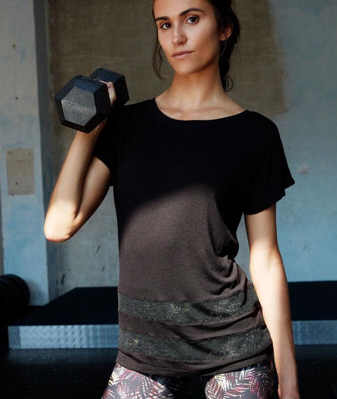 T-shirt ze wstawkami siateczki noir.