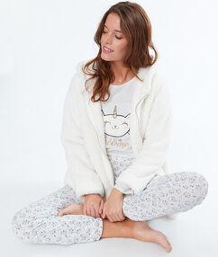 Piżama trzyczęściowa z motywem kota jednorożca beige.