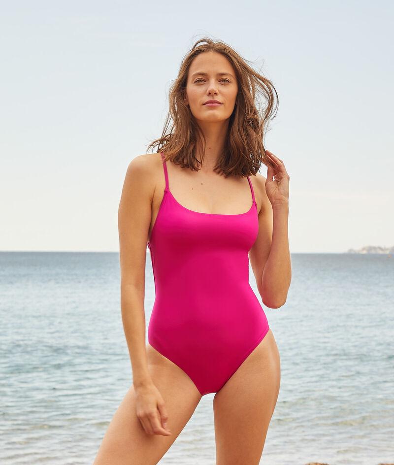 Jednoczęściowy kostium kąpielowy z ramiączkami skrzyżowanymi na plecach;${refinementColor}