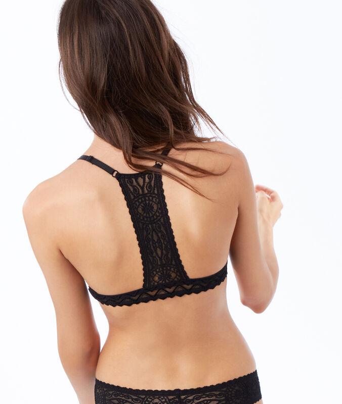 Koronkowy biustonosz trójkątny, wycięcie na plecach w stylu bokserskim z koronki typu mesh noir.