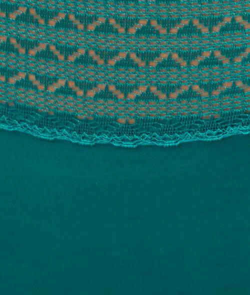 Majtki typu hipster z mikrofibry i koronki, detal z kryształkami