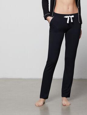 Dwukolorowe lejące spodnie noir.
