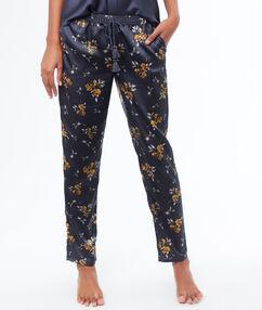 Wzorzyste satynowe spodnie bleu.