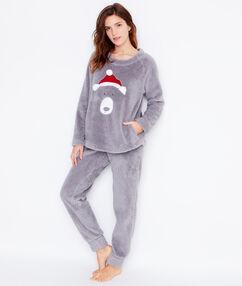 Dwuczęściowa piżama polarowa szary.