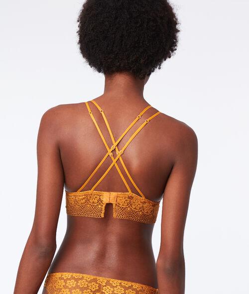 Biustonosz trójkątny z koronki, ramiączka skrzyżowane na plecach