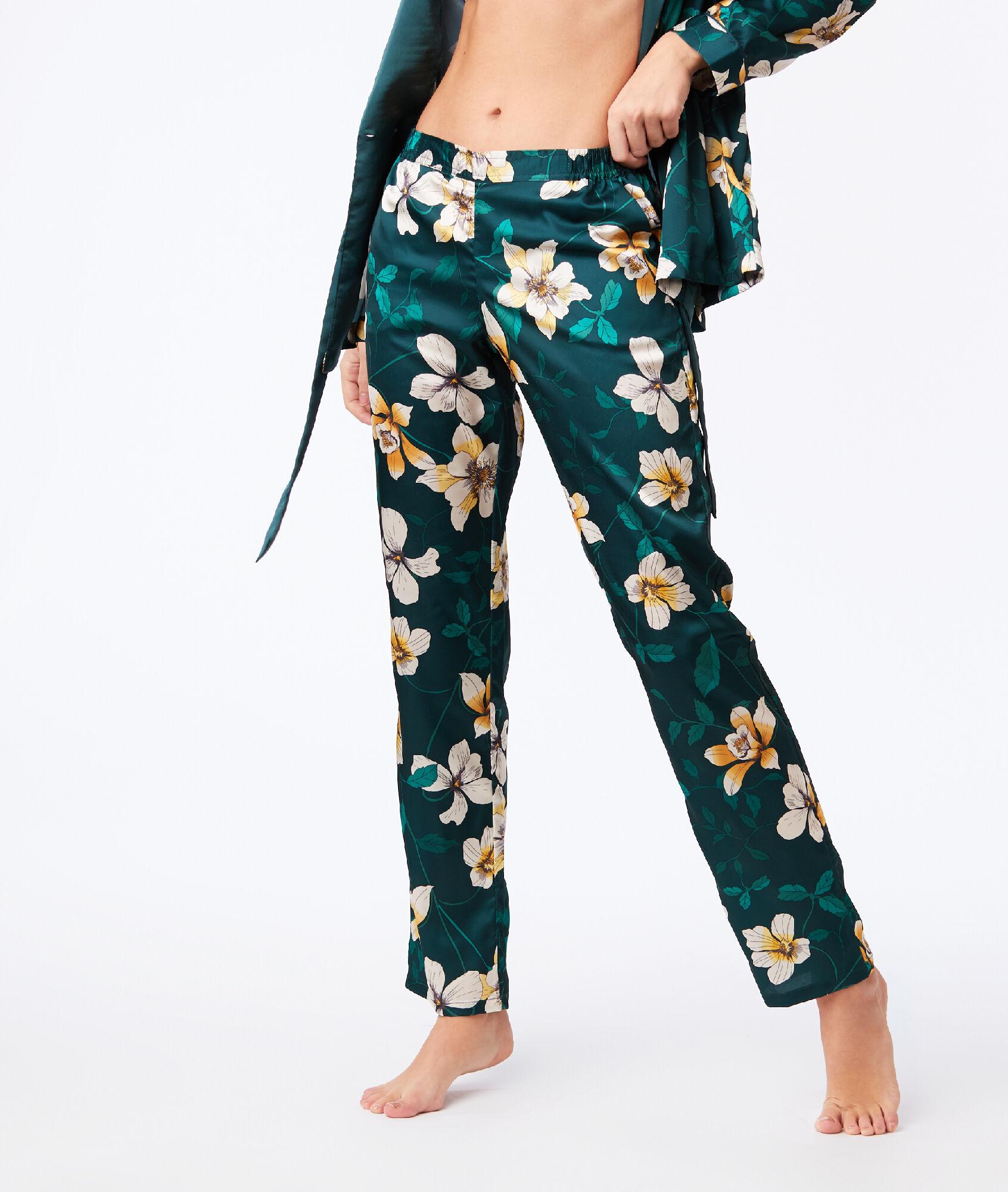 56fbcb5e02d78b Spodnie z szerokimi nogawkami w roślinny deseń - GWENDA - VERT - Etam