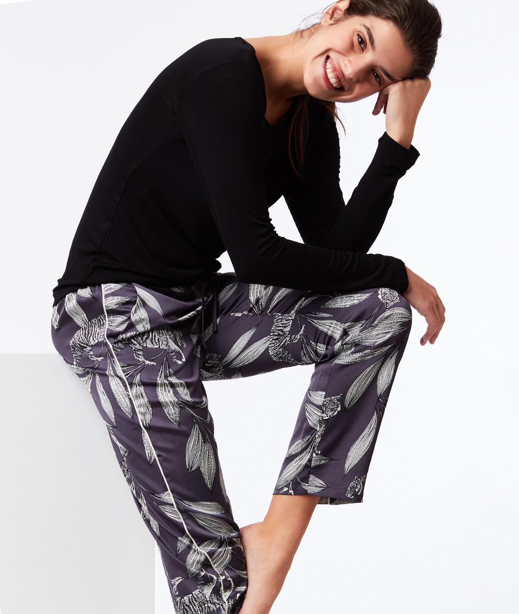 Spodnie z szerokimi nogawkami w roślinny deseń - JUVE