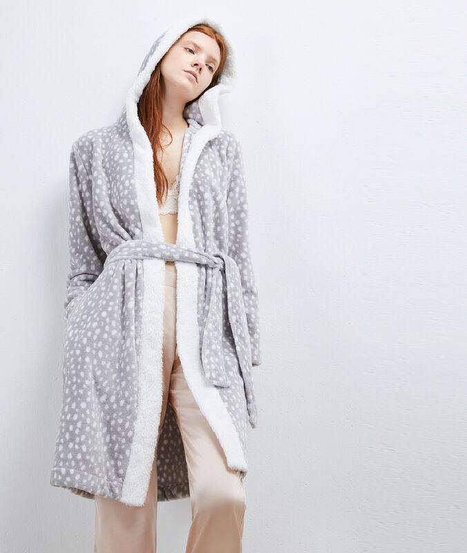 Szlafrok homewear ze sztucznego futerka gris.