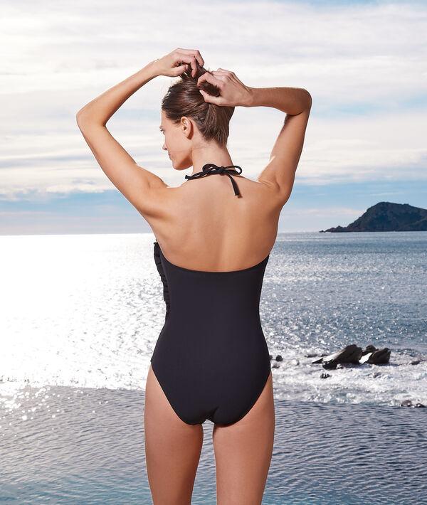 Kostium kąpielowy jednoczęściowy bez fiszbin z prostym dekoltem;${refinementColor}