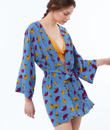 Kimono w afrykańskie motywy wax bleu.