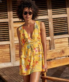 Sukienka plażowa z dekoltem w kształcie litery v jaune.