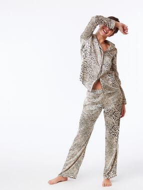 Koszula od piżamy w cętki leoparda ecru.