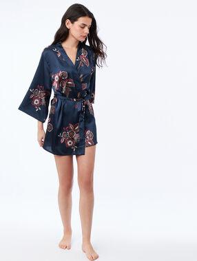 Szlafrok kimono w kwiaty bleu.