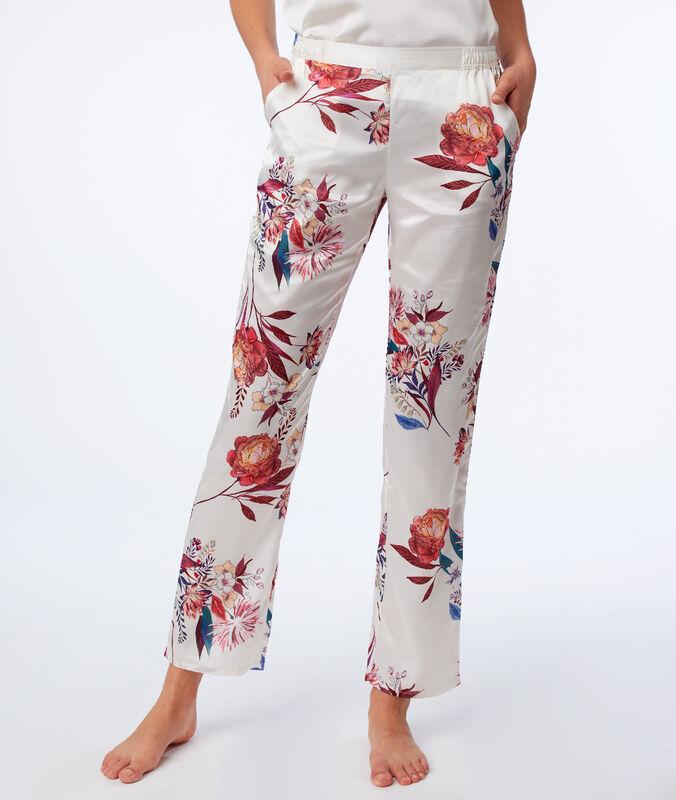 Spodnie w kwiatowy deseń ecru.