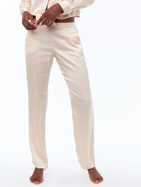 Satynowe spodnie rose poudre.