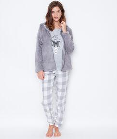 Trzyczęściowa piżama ze spodniami w kratę i bluzą polarową szary.