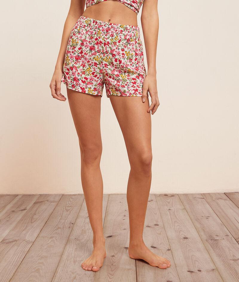 Spodenki od piżamy w kwiatowy deseń;${refinementColor}