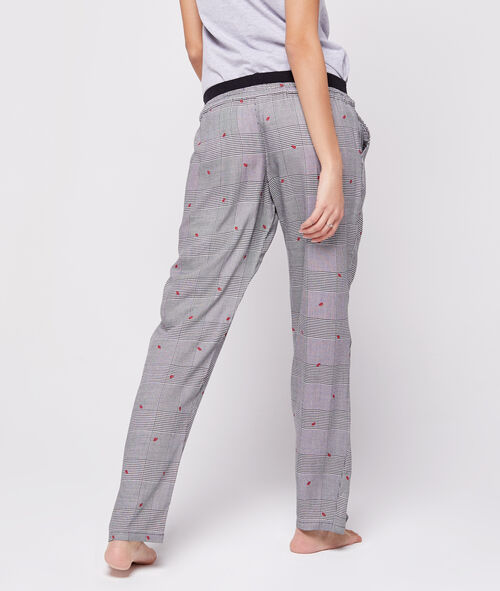 Wiązane spodnie z motywem całusków