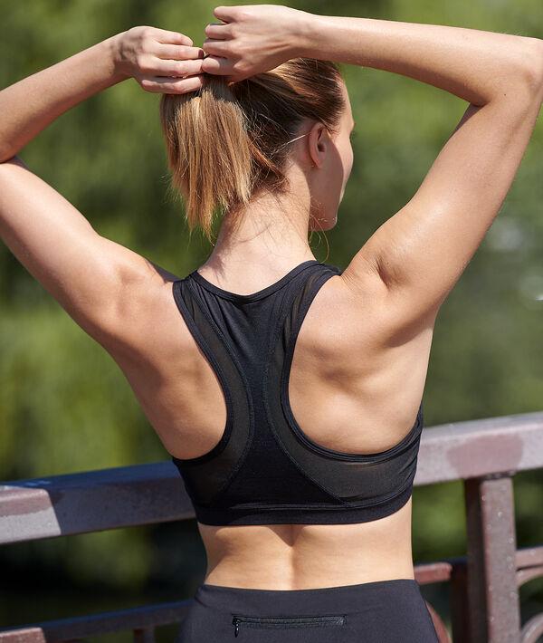 Biustonosz sportowy z wycięciem na plecach w stylu bokserskim - średnie podtrzymanie