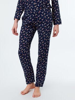 Wzorzyste spodnie z motywem pływaczki bleu.