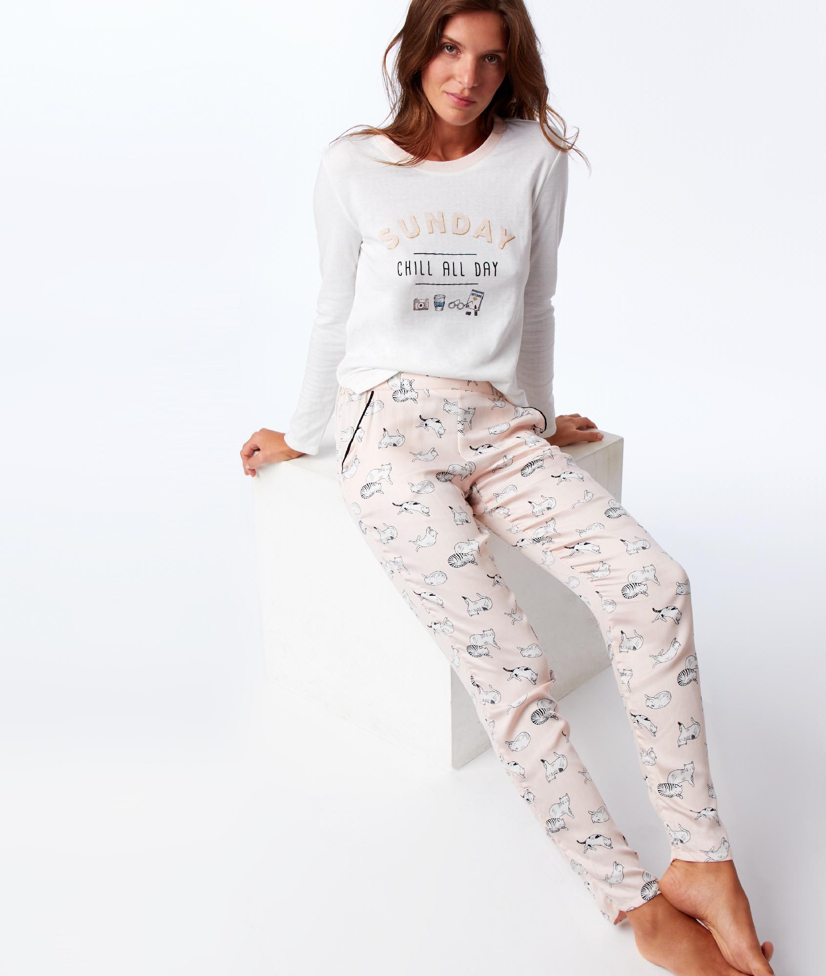T-shirt z długimi rękawami i nadrukiem z przodu ecru.